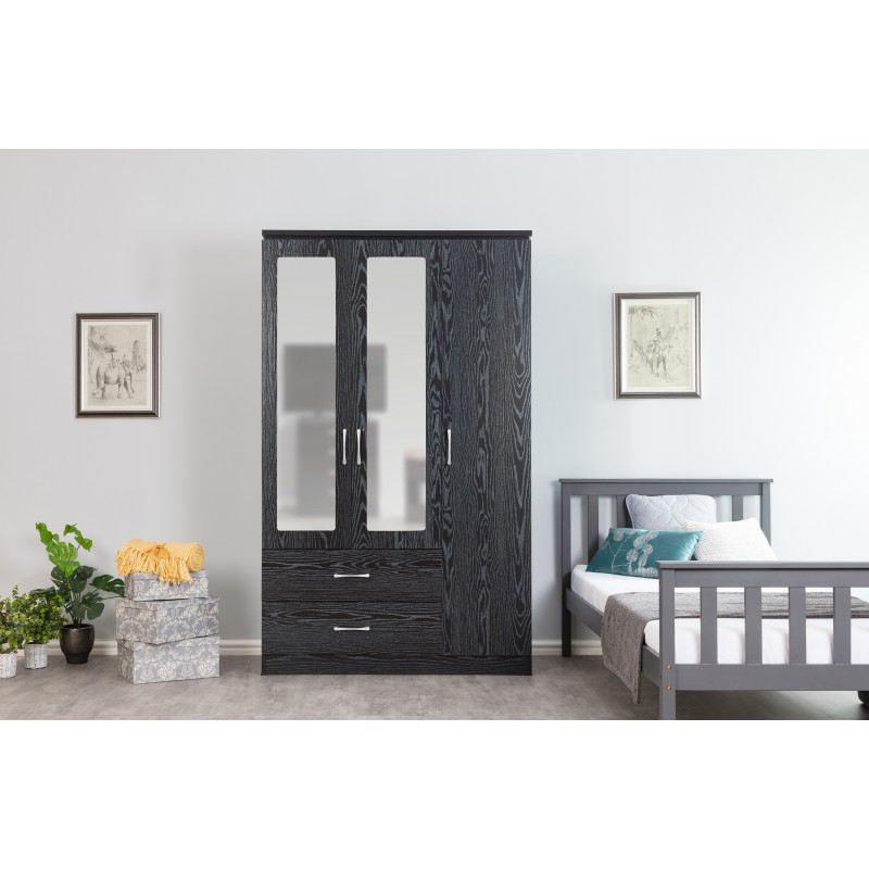 Kinsbury Black Oak 3 Door Triple Mirrored Wardrobe