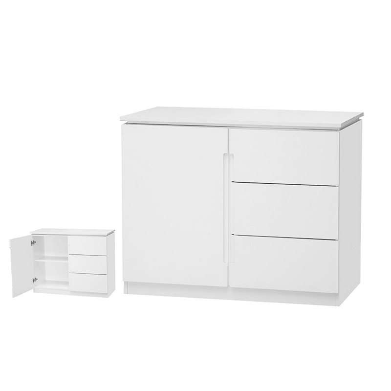 Orb White 3 Drawer 1 Door Small Sideboard