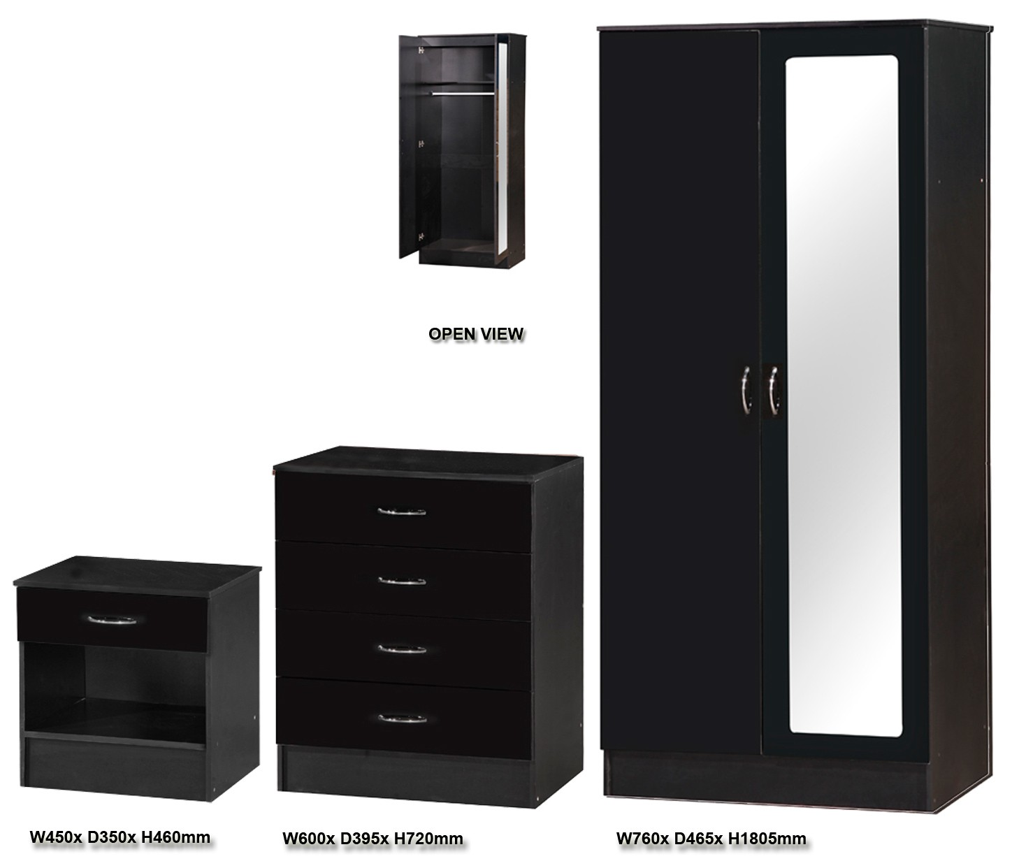 Alpha Black Gloss Two Tone 2 Door Mirrored Set Ark Furniture