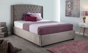 BALMAIN STEEL 4FT6 USB BRUSHED VELVET BED