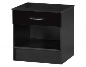 Alpha Black Gloss Two Tone 1 Drawer Bedside