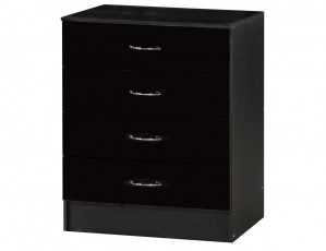 Alpha Black Gloss Two Tone Chest Of 4 Drawers