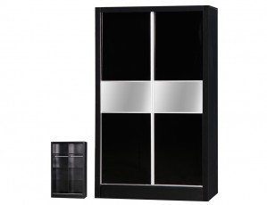 Alpha Black Gloss Two Tone Sliding Wardrobe