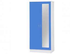Alpha Blue Gloss & White 2 Door Mirrored Wardrobe