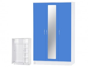 Alpha Blue Gloss & White 3 Door Mirrored Wardrobe