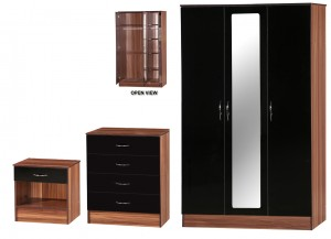 Alpha Black Gloss & Walnut 3 Door Mirrored Set