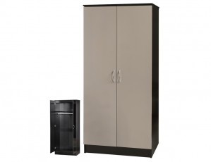 Alpha Grey Gloss & Black 2 Door Standard Wardrobe