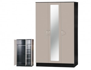 Alpha Grey Gloss & Black 3 Door Mirrored Wardrobe