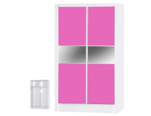 Alpha Pink Gloss & White Sliding Wardrobe
