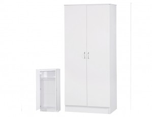 Alpha White Gloss Two Tone 2 Door Standard Wardrobe