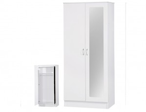 Alpha White Gloss Two Tone 2 Door Mirrored Wardrobe