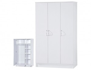 Alpha White Gloss Two Tone 3 Door Standard Wardrobe