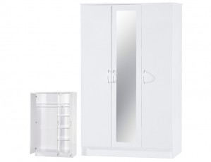 Alpha White Gloss Two Tone 3 Door Mirrored Wardrobe