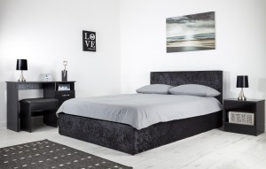 Boston Black 4ft6 Ottoman Crushed Velvet Bed