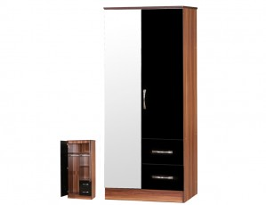 Marina Black Gloss & Walnut 2 Door Mirrored Wardrobe