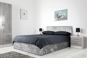 Boston Grey 4ft6 Ottoman Crushed Velvet Bed