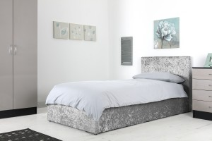 Boston Grey 3ft Ottoman Crushed Velvet Bed
