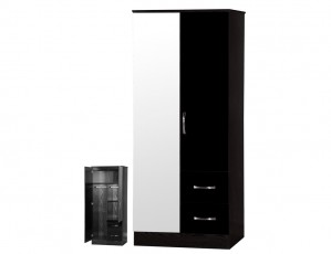 Marina Black Gloss 2 Door Mirrored Wardrobe