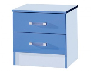 Marina Blue Gloss Two Tone 2 Drawer Bedside