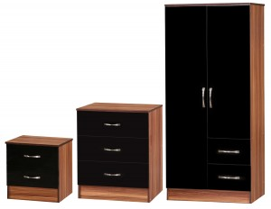 Marina Black Gloss & Walnut 3 Piece Set