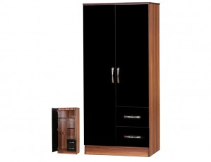Marina Black Gloss & Walnut 2 Door Combi Wardrobe