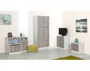 Marina Grey Oak Gloss & Ash White 5 Piece Set