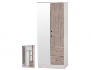 Marina Grey Gloss & White 2 Door Mirrored Wardrobe