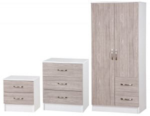 Marina Grey Oak Gloss & Ash White 3 Piece Set