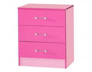 Marina Pink Gloss Two Tone Chest Of 3 Drawer