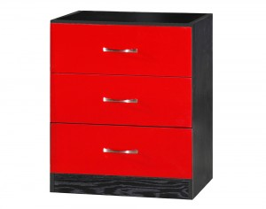 Marina Red Gloss & Black Chest Of 3 Drawer