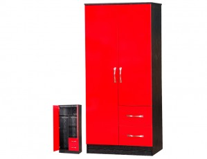 Marina Red Gloss & Black 2 Door Combi Wardrobe
