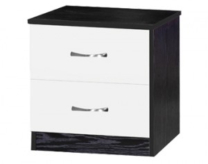 Marina White Gloss & Ash Black 2 Drawer Bedside