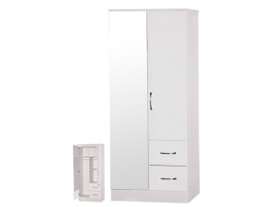 Marina White Gloss 2 Door Mirrored Combi Wardrobe