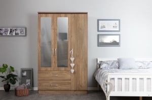 Kinsbury Oak 3 Door Triple Mirrored Wardrobe