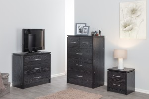 Kinsbury Black Chest of 3 Drawers