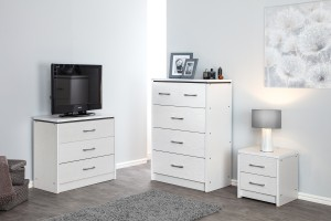 White Ash Chest of 3 Drawers