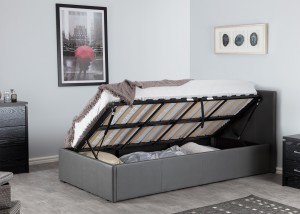 Boston Grey 3ft Side Lift Ottoman Storage Bed