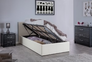 Boston White 4ft6 Side Lift Ottoman Storage Bed
