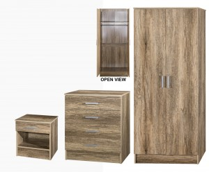 Harrison Rustic Oak 3 Piece Wardrobe Set
