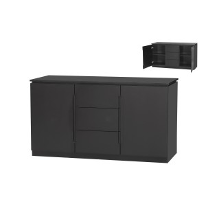 Orb Black 3 Drawer 2 Door Large Sideboard